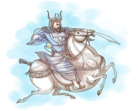 illustration of a Samurai warrior with sword riding a horse viewed from side done in cartoon style on isolated background illustration