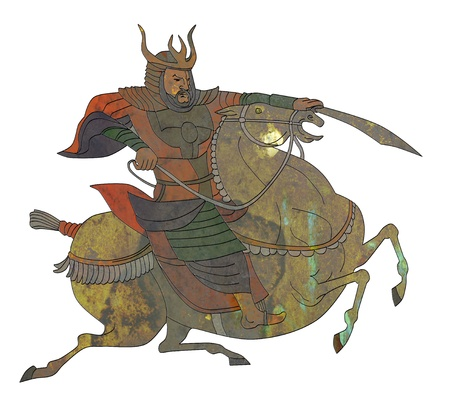 illustration of a Samurai warrior with sword riding a horse viewed from side  on isolated background illustration