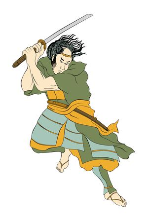 katana: illustration of a Samurai warrior with katana sword in fighting stance done in cartoon style on isolated background