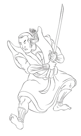 katana: illustration of a Samurai warrior with katana sword in fighting stance done in cartoon style black and white on isolated background