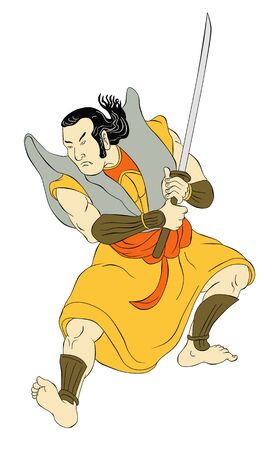 samoerai: illustratie van een Samurai krijger met katana zwaard in de strijd tegen houding gedaan in cartoon stijl op geïsoleerde achtergrond Stockfoto