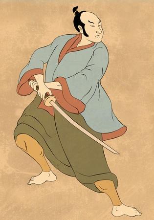 katana: illustratie van een Samurai krijger met katana zwaard in de strijd tegen houding gedaan in cartoon stijl