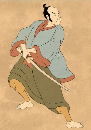stance: illustration of a Samurai warrior with katana sword in fighting stance done in cartoon style