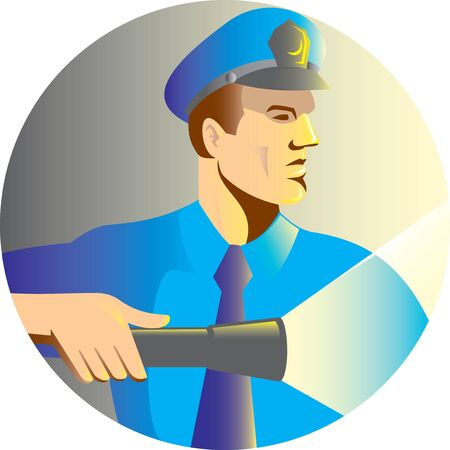 flashlight: illustration of a Security guard policeman officer pointing a torch flashlight viewed from side set inside circle done in retro style Stock Photo