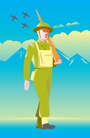world war two: illustration of a British World War two soldier with rifle marching with airplanes flying, mountains and clouds in background Stock Photo