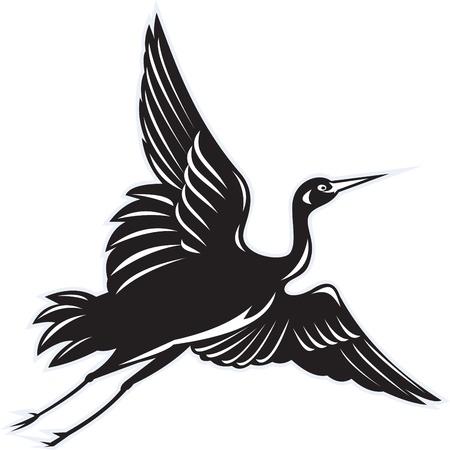 Abbildung eines Krans fliegen im retro Holzschnitt-Stil auf weißem hintergrund isoliert Standard-Bild