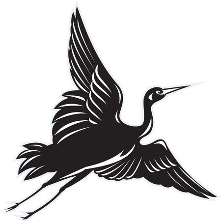 heron: illustration of a Crane flying done in retro woodcut style on isolated white background Stock Photo