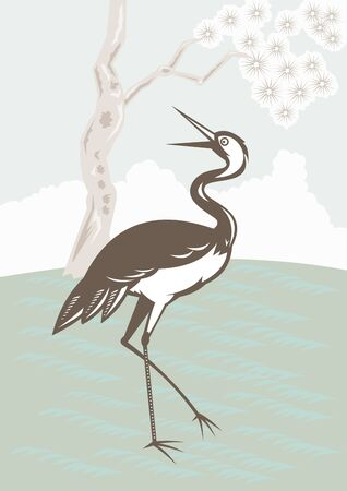 egret: illustration of a Crane looking up with tree in background done in retro style. Stock Photo