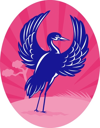 flapping: illustration of a Crane flapping wings with pine tree and sunburst in background set inside oval done in retro woodcut style Stock Photo