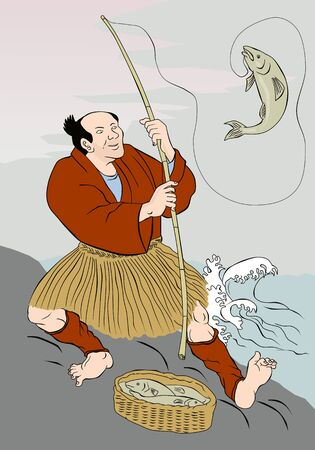 woodblock: Image shows a Japanese fisherman fishing catching trout fish on a rock on lake done in the style of Japanese carton style Stock Photo