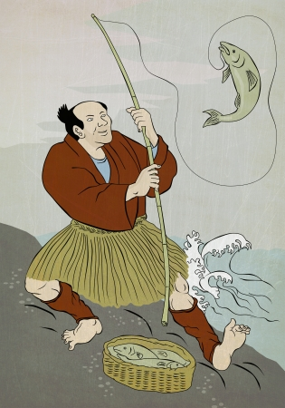 woodblock: Image shows a Japanese fisherman fishing catching trout fish on a rock on lake done in the style of Japanese wood block print.