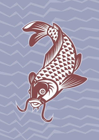 illustration of a Koi carp swimming down with wave pattern in background done in retro style. Stock Illustration - 10066793