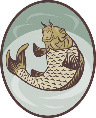 jumping carp: illustration of a Koi carp fish jumping up set inside ellipse done in retro style. Stock Photo