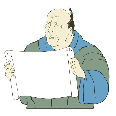 illustration of an Asian Japanese old man reading holding a blank paper scroll facing front on isolated white background done in cartoon style illustration