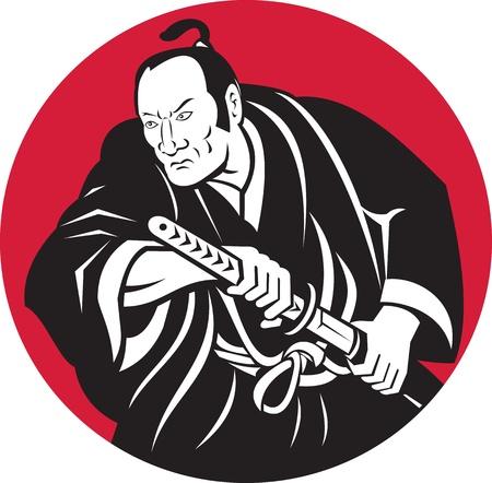 krieger: Darstellung eines japanischen Samurai-Krieger etwa zu Schwert-Set im Kreis im Retro-Stil getan ziehen