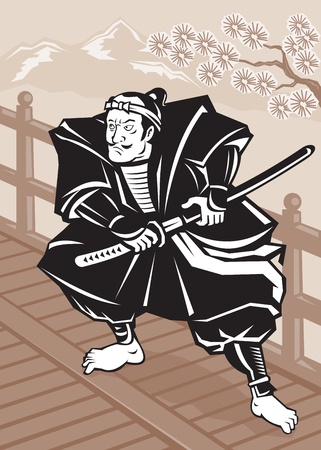samurai warrior: illustration of a Japanese Samurai warrior sword on bridge with tree and mountains in background done in retro woodcut style Stock Photo