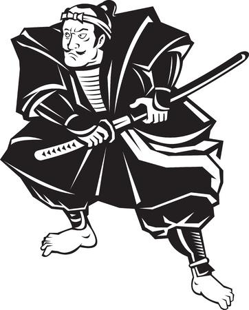 samourai: illustration d'un guerrier samouraï sur le point de tirer l'épée katana dans la lutte contre la position sur le fond blanc isolé fait dans le style rétro Banque d'images
