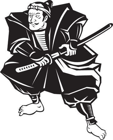 samurai warrior:  illustration of a Samurai warrior about to draw katana sword in fighting stance on isolated white background done in retro style