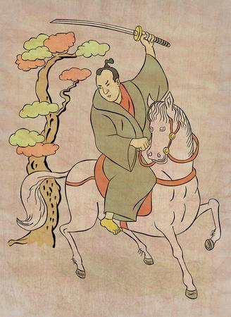 illustration of a Samurai warrior on horseback with katana sword in fighting stance done in Japanese wood block print cartoon style illustration
