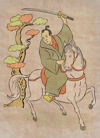 stance:  illustration of a Samurai warrior on horseback with katana sword in fighting stance done in Japanese wood block print cartoon style Stock Photo