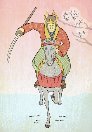 illustration of a Samurai warrior riding horse with katana sword attacking charging viewed from front in the style of Japanese wood block print  illustration