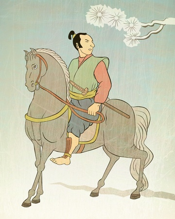 illustration of a Samurai warrior riding horse with katana sword viewed from side dome in the style of Japanese wood block print  illustration