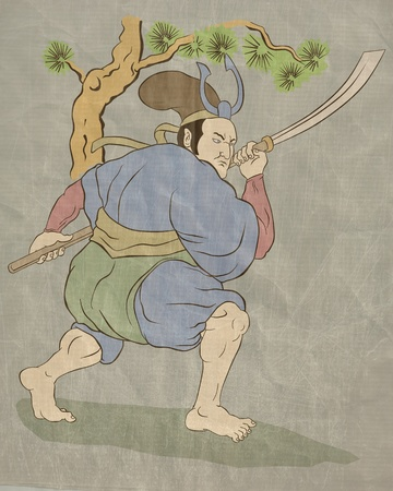 stance:  illustration of a Samurai warrior with katana sword in fighting stance with tree in background done in Japanese wood block style print