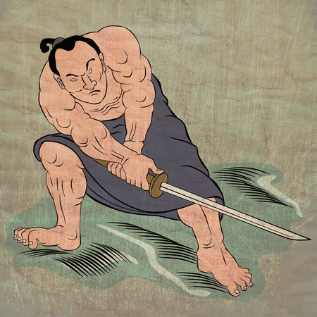 warriors:  illustration of a Samurai warrior with katana sword in fighting stance done in cartoon style Japanese wood block print