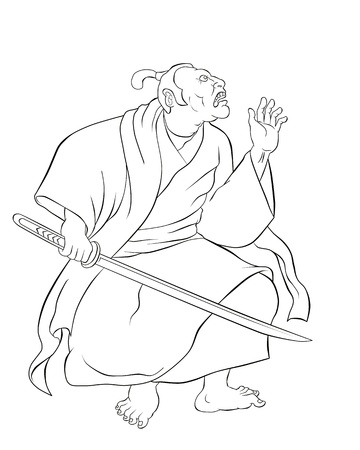 samurai warrior:  illustration of a Samurai warrior with katana sword in fighting stance done in cartoon style done in black and white