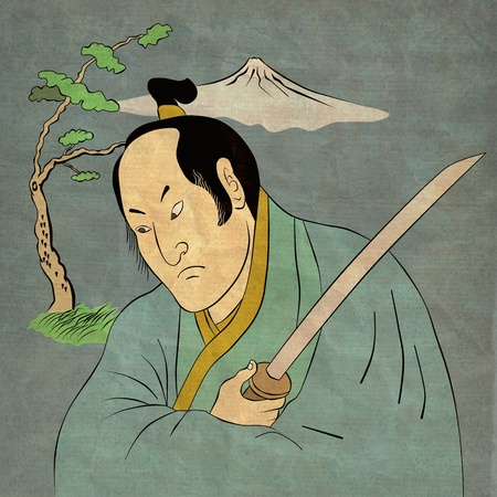 samurai:  illustration of a Samurai warrior with katana sword in fighting stance with tree and mountain in background done in cartoon style Japanese wood block print. Stock Photo