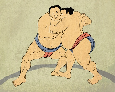 wrestler: illustration of a two Japanese sumo wrestler wrestling isolated done in Japanese wood block print style Stock Photo