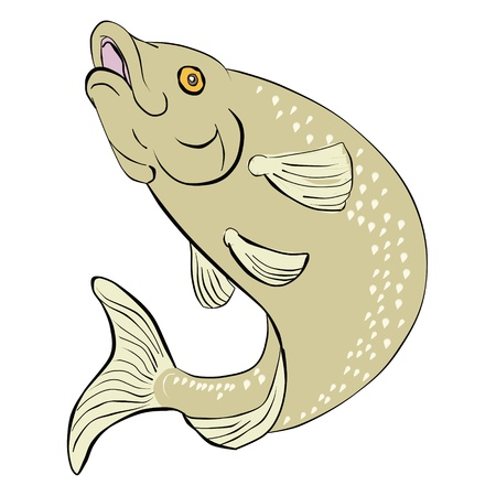 trucha: Ilustración de un pez de trucha salto realizado en bloque de madera de estilo caricatura japonesa impresión sobre fondo aislado Foto de archivo