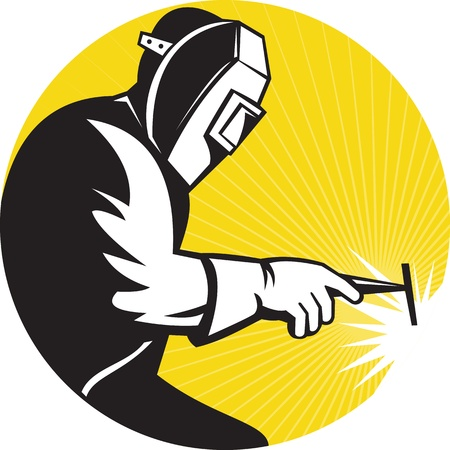 soldador: Ilustración de un soldador de soldadura en la vista lateral de trabajo dentro de círculo