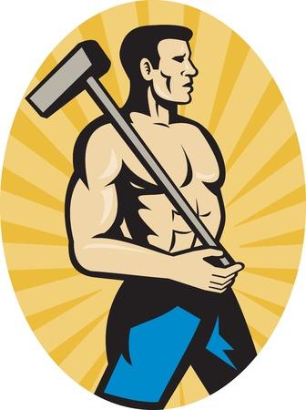sledgehammer: illustration of a worker with sledge hammer side view set inside ellipse with sunburst Stock Photo