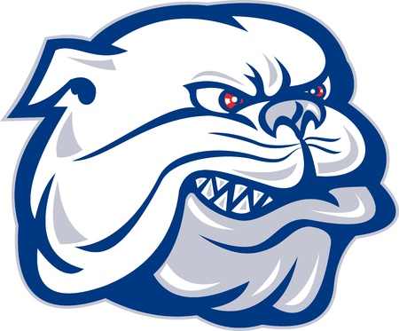 mascots: illustration of a bulldog mongrel dog head facing side on isolated background