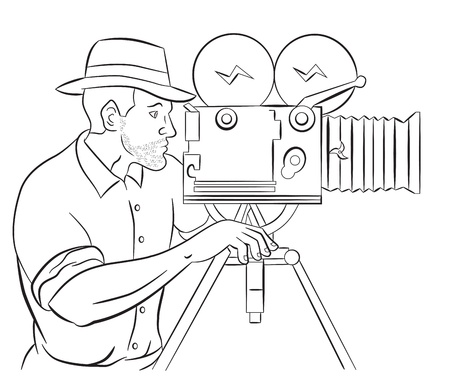 filming: illustration of a Cameraman with vintage camera shooting side view done in the style of cartoon style isolated on white