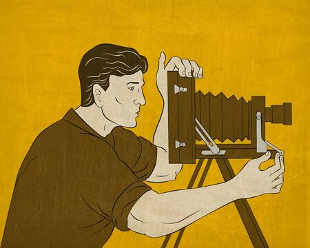 film shooting: illustration of a Cameraman with vintage camera shooting side view done in the style of cartoon style done in the style of Japanese wood block print