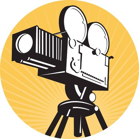 illustration of a vintage movie film camera viewed from low angle set inside circle with sunburst done in retro style isolated on white Stock Illustration - 10228703