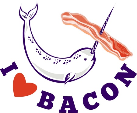 bacon love: illustration of narwhal whale Monodon monoceros unicorn whale stringing bacon with tusk horn and words i love bacon Stock Photo