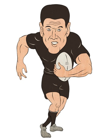 sport cartoon: cartoon illustration of a Rugby player running with ball  isolated on white background Stock Photo