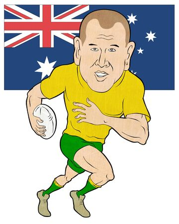 rugby player: cartoon illustration of a Rugby player running with ball with Australia flag  isolated on white background Stock Photo