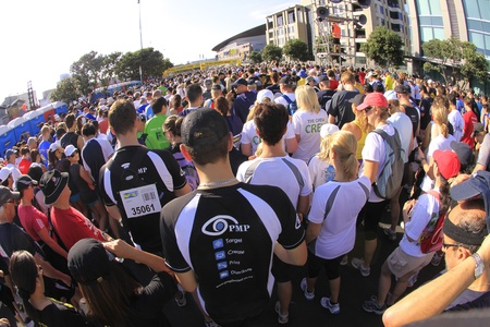 entrants: AUCKLAND- Mar. 13: Participants at the starting line of Auckland Round the Bays, one of the worlds largest fun walk and run with an estimated 70,000 entrants, in Auckland, New Zealand on Sunday March 13, 2011. Editorial