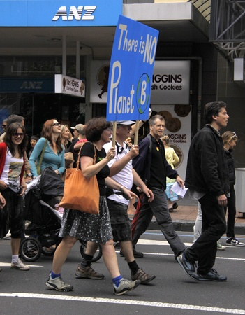 protestor: Green Peace Climate Change campaign protest march in Auckland, New Zealand on December 5, 2009 Editorial