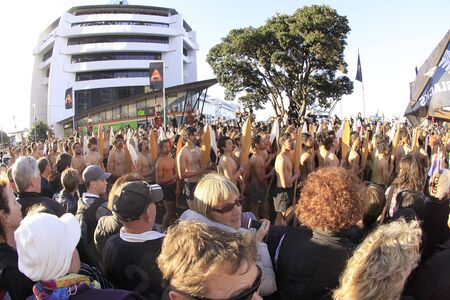 AUCKLAND- Sept. 9: Maori warriors parade at the Auckland Waterfront for the Rugby World Cup 2011 opening ceremony in Auckland, New Zealand on Friday September 9, 2011. Stock Photo - 10581256