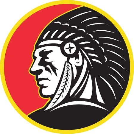 indio americano: Ilustración de un jefe indio de nativos americanos, buscando el lado establecer en círculo sobre fondo blanco aislado