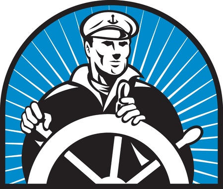 helm: illustration of a ship captain helmsman sailor at the helm steering wheel facing front with sunburst in background
