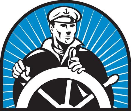 timone: illustrazione di un capitano di nave marinaio timoniere al volante timone rivolto verso anteriore con sunburst in background Archivio Fotografico