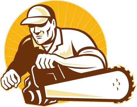 illustration of an arborist tradesman cutter holding a chainsaw viewed from front with sunburst and circle on isolated background illustration