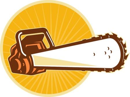 Illustration d'une scie à chaîne vu de l'avant à angle faible avec sunburst et cercle dans le fond