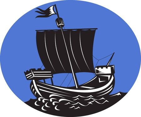 tall ship: illustration of a galleon tall ship sailing the sea set inside an oval done in retro woodcut style. Stock Photo